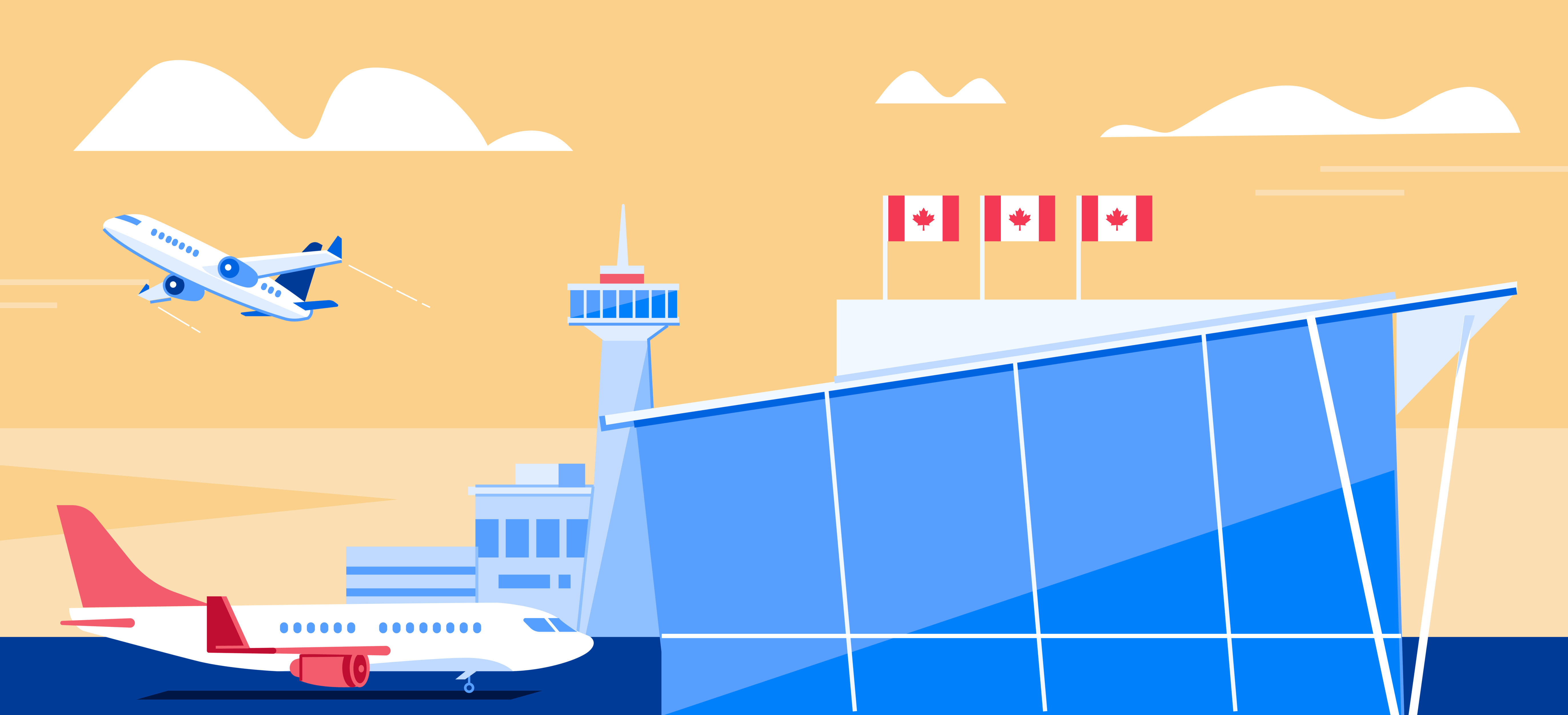 An illustration of Toronto Airport during the day.