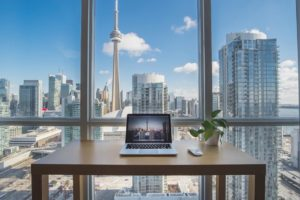 Desk looking out at Toronto skyline