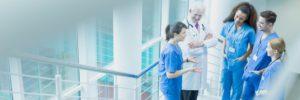 Doctors conversing in a hospital