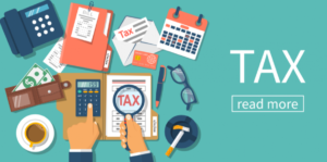 Graphic of images associated with filing taxes