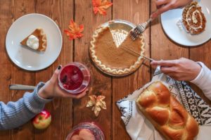 People enjoying Thanksgiving dinner