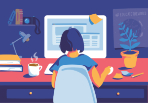 Illustration of female student studying on computer
