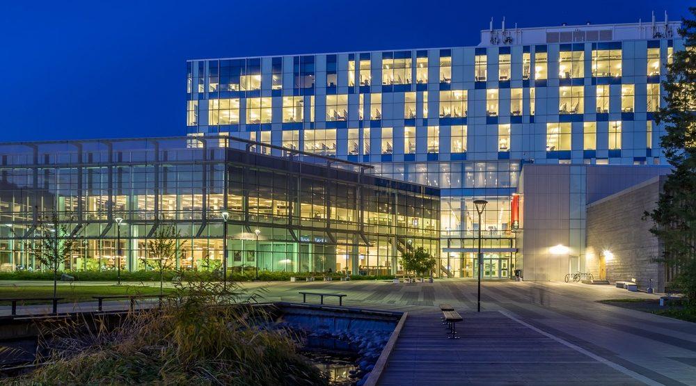 University of Calgary campus at night