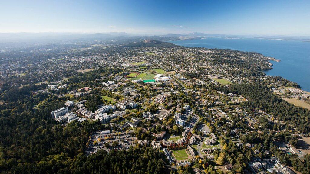 Aerial photo of University of Victoria campus
