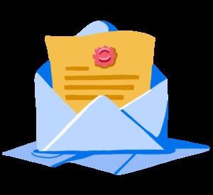 Illustration of test results in envelope