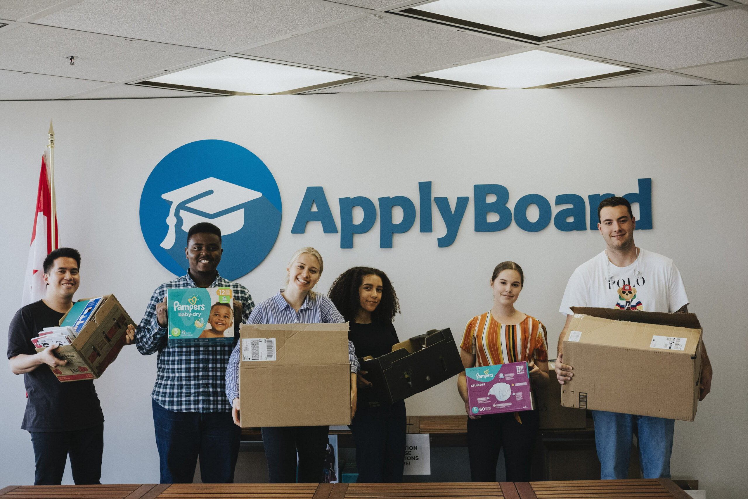 ApplyBoard staff collecting donations for Reception House