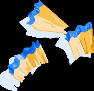 Illustration of blue pencil shavings