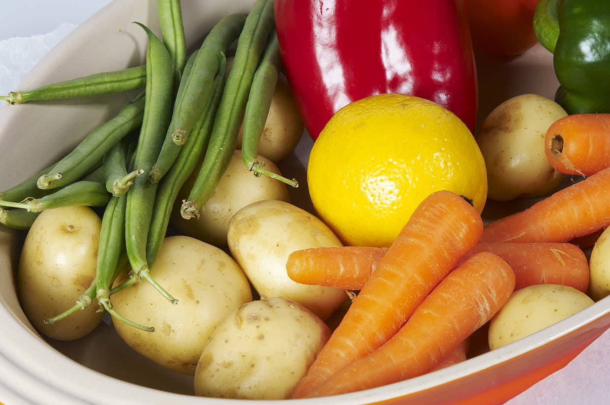 A bowl of vegetables.