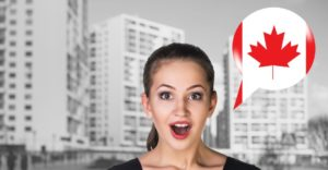 Surprised woman with Canada speech bubble