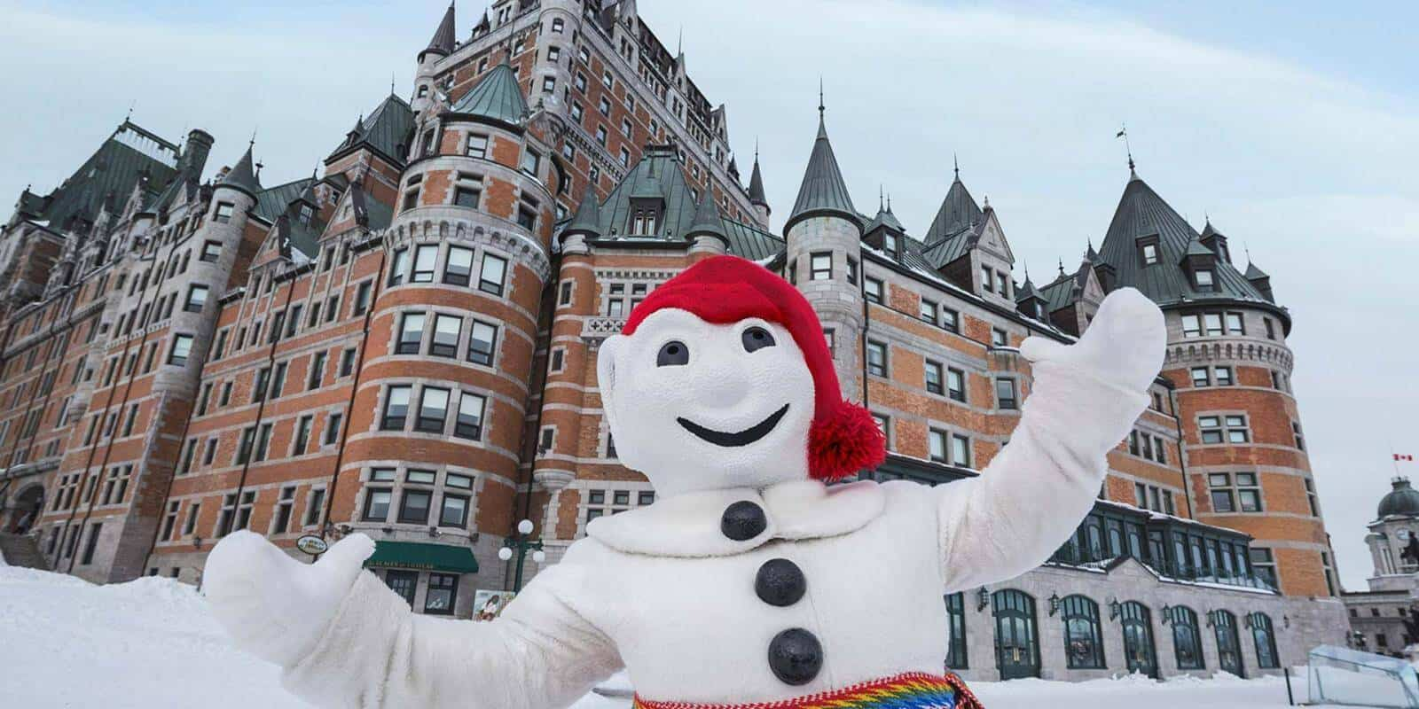 A photo of Bonhomme the snowman at Carnaval du Quebec.