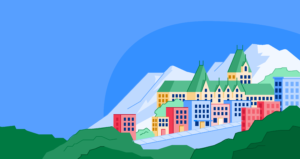 Illustration of Quebec's mountains and buildings.