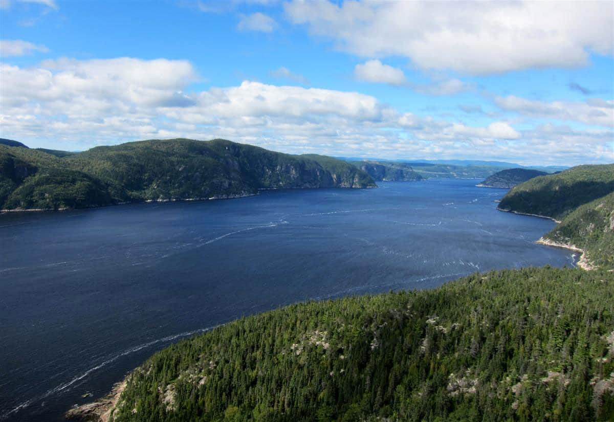 An arial shot of the Riviere Saguenay Fjord.