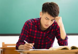 Student studying for IELTS
