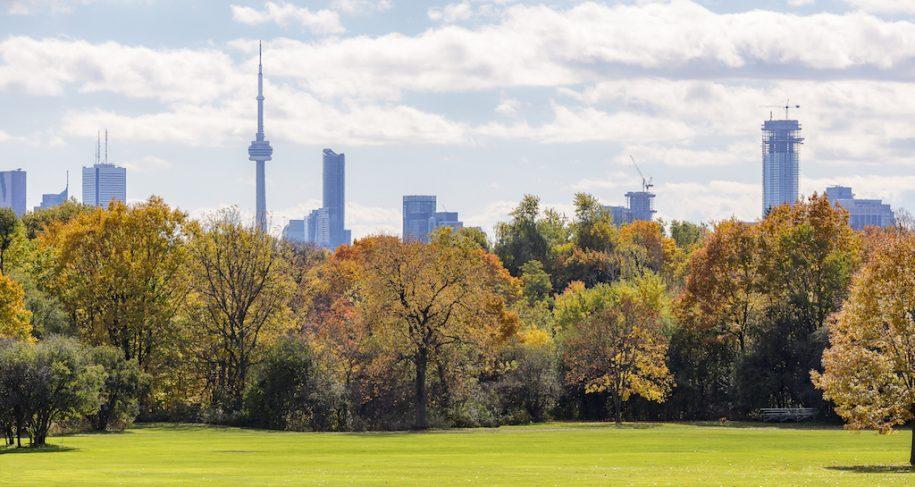 Riverdale Park against Toronto skyline