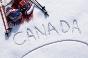 """Canada"" written in the snow"