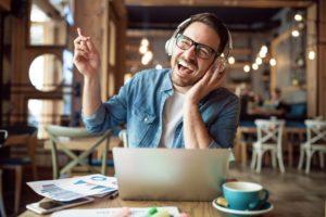 Man studying on laptop