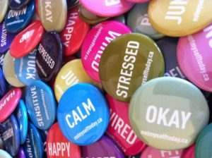 Collection of 'Not Myself Today' buttons