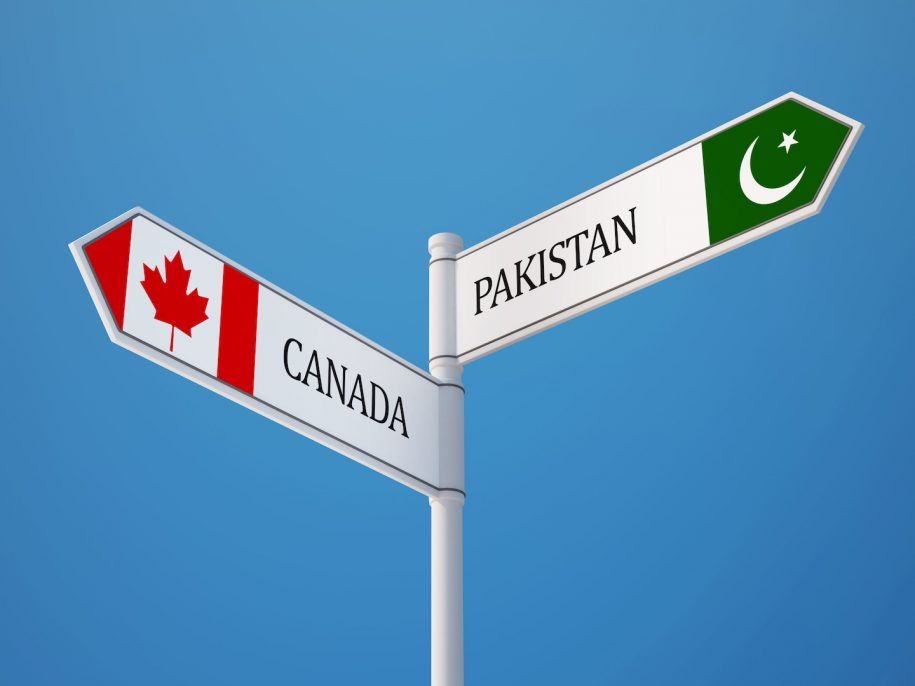 Sign showing direction of Canada and Pakistan