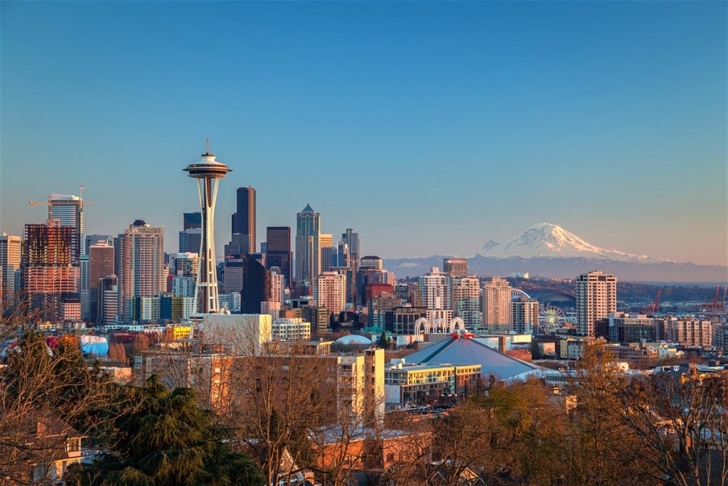 Seattle, Washington with mountain in distance