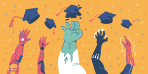 Superheroes throwing graduation caps in the air