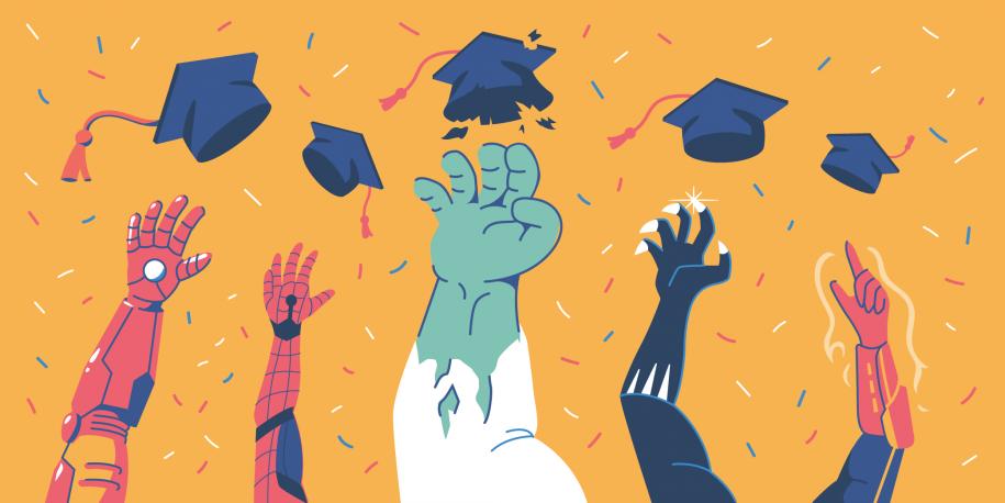 Superheroes throwing graduation caps in the air