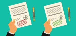 Rejection letter and acceptance letter