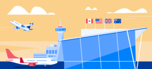 An illustration of an airport during the day with the Canadian, the US, the UK and Australian flags.