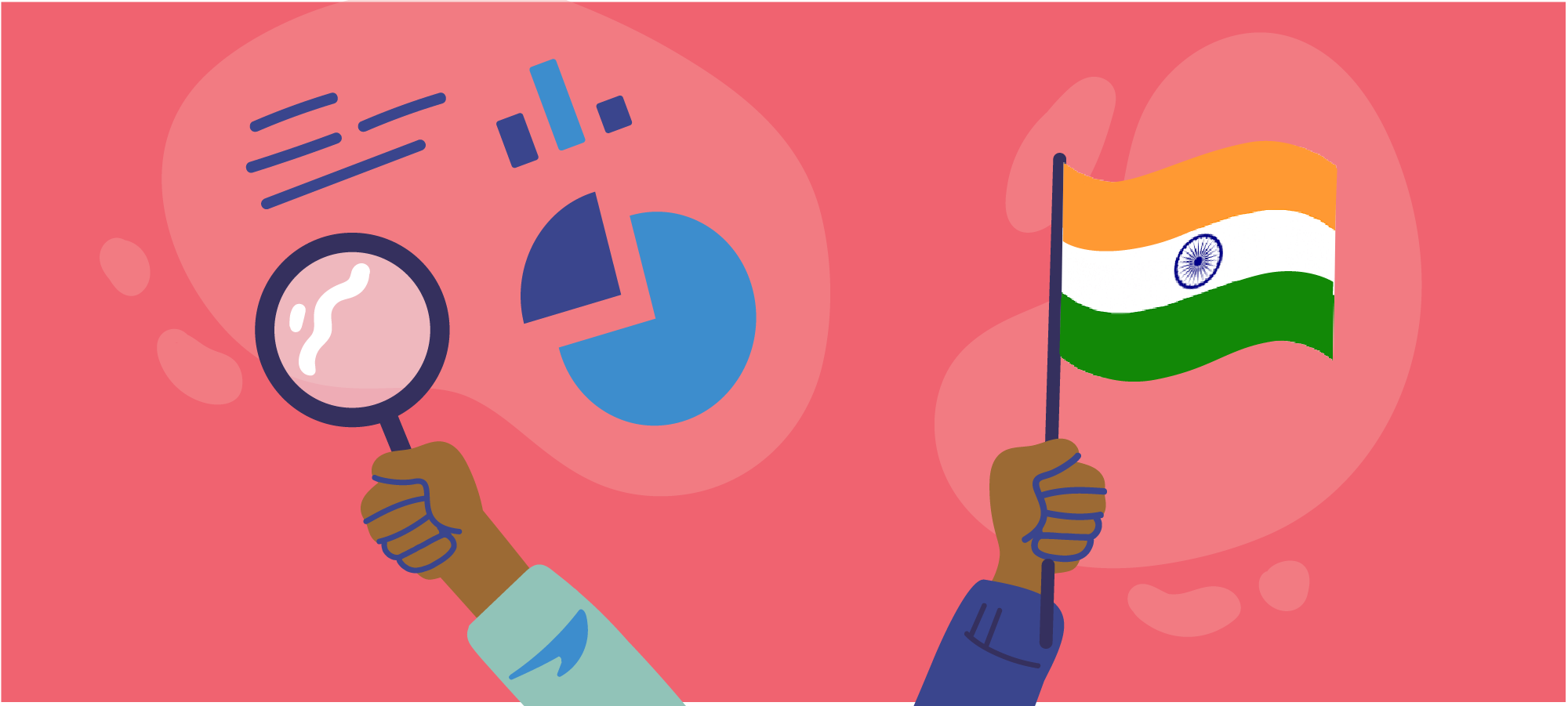 Hands holding magnifying glass and India flag