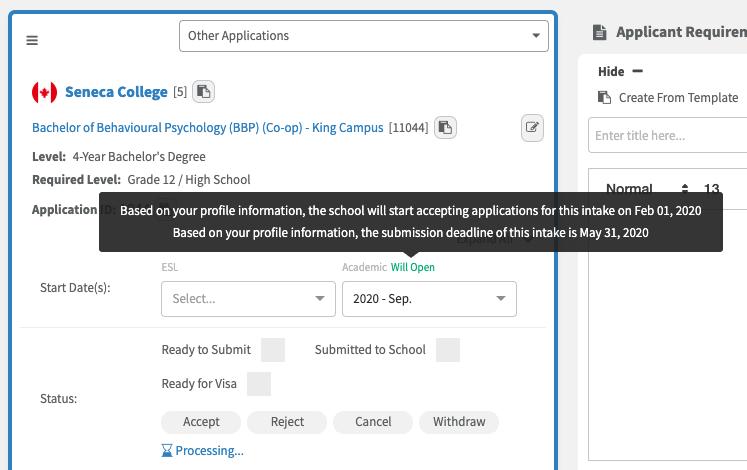 Intake Status - Applications Page