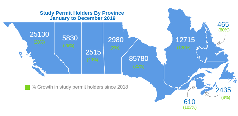Study permit holders by province map