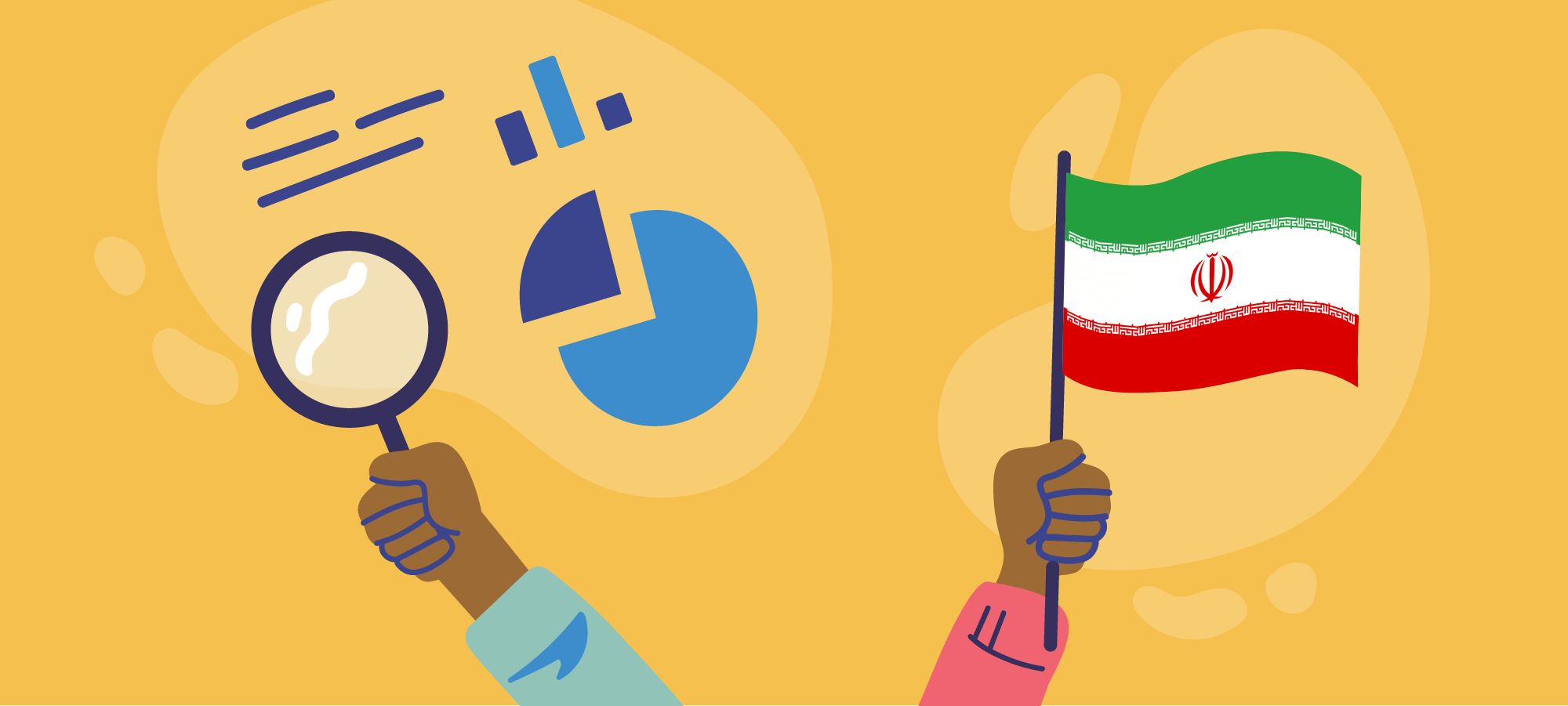 Hands holding magnifying glass and Iran flag