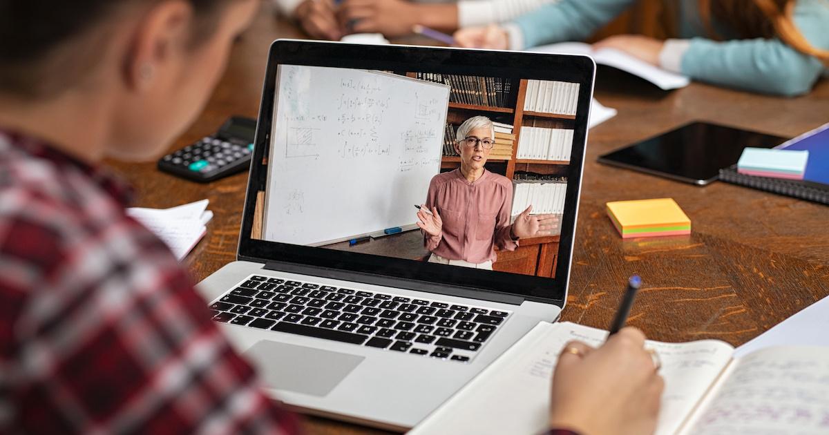 Professor teaching over video