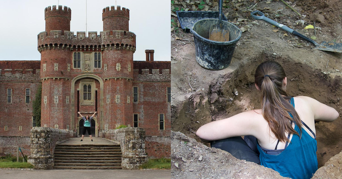 Photos of Alecs Romanisin in front of a castle in the UK and on a dig in Greece