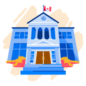 Illustration of school with Canadian flag