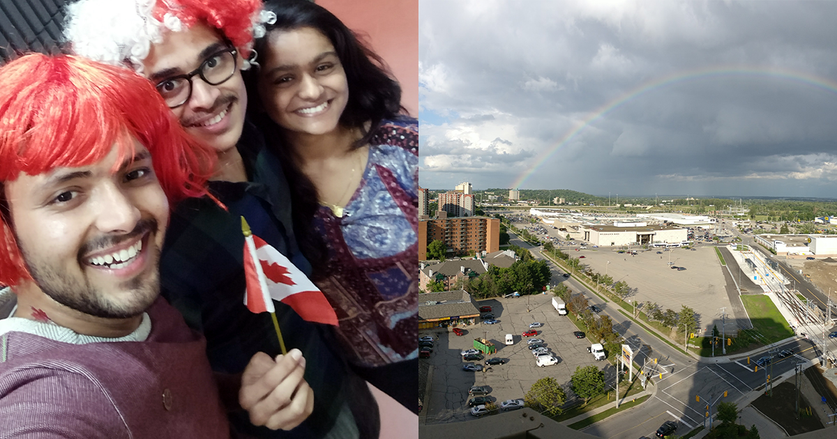 Jai Kapoor with friends and Canada flag