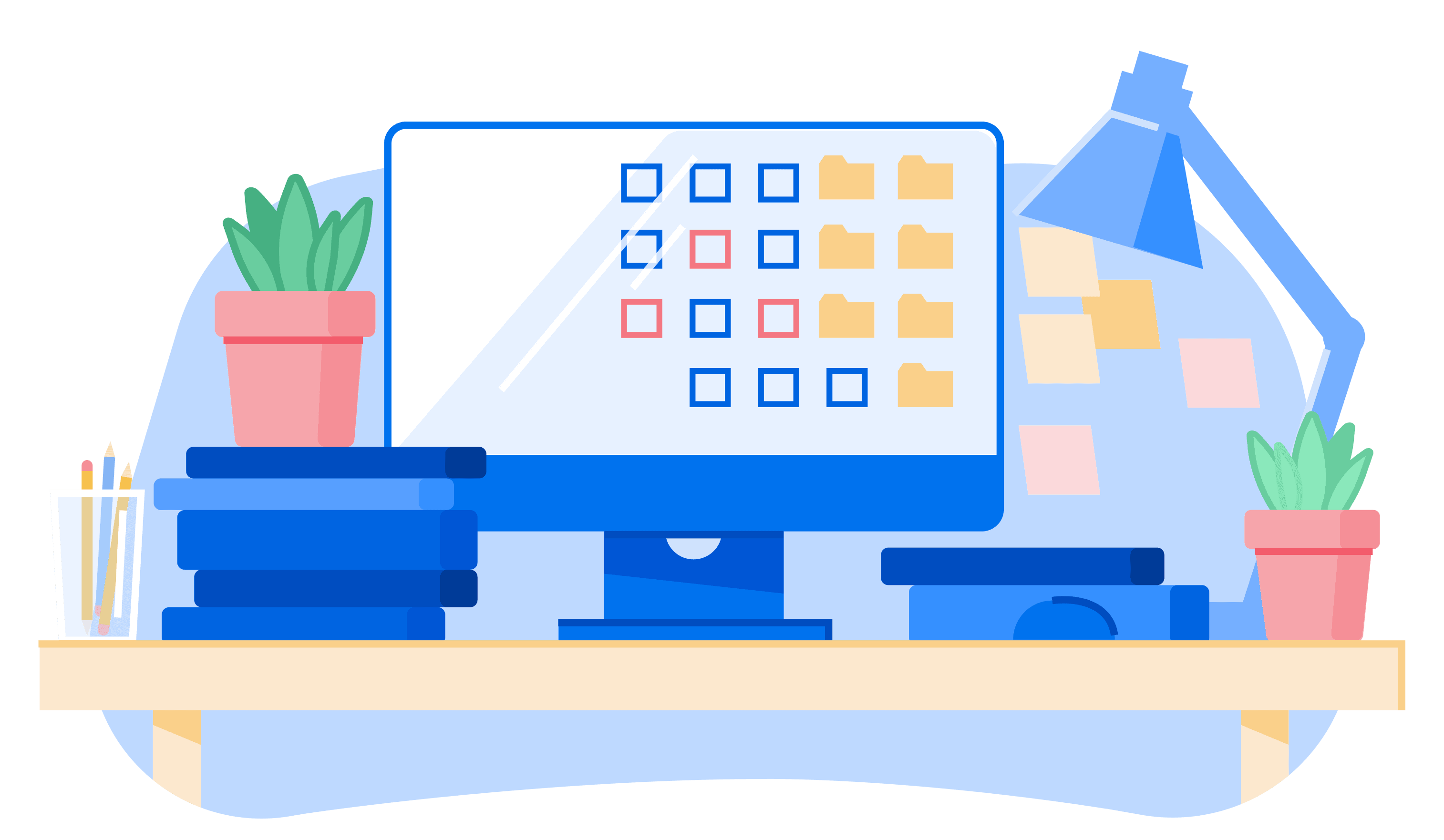 Illustration of desk with computer