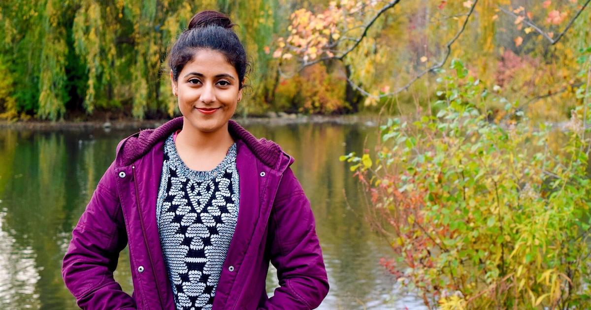 Jobanmeet Kaur by river and trees