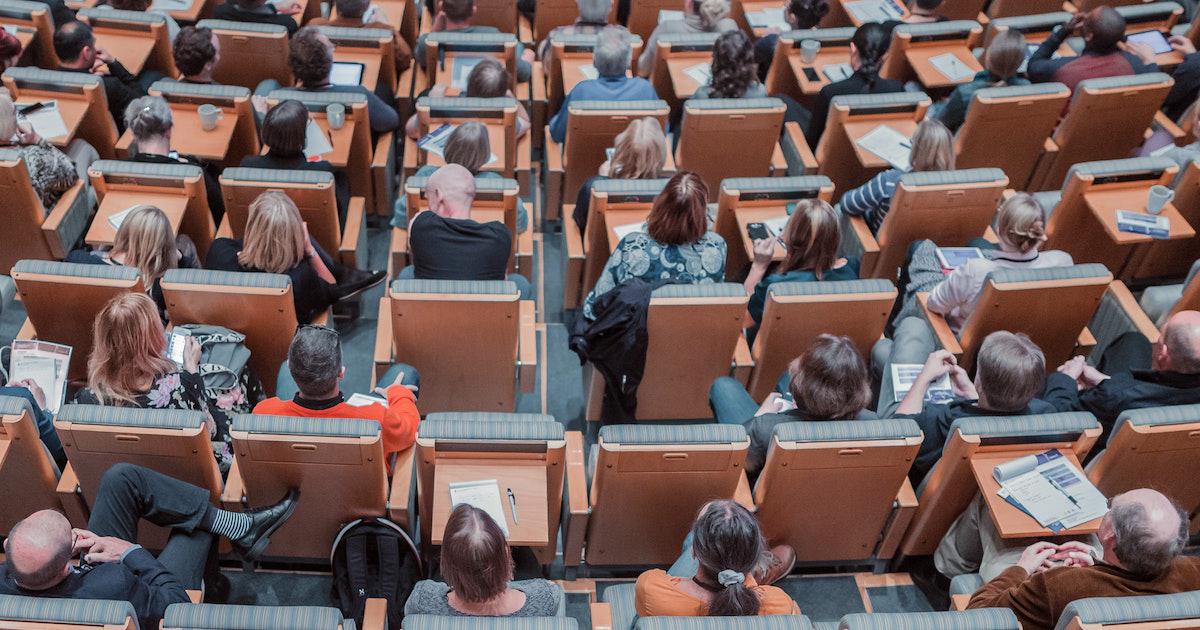 Students in university auditorium