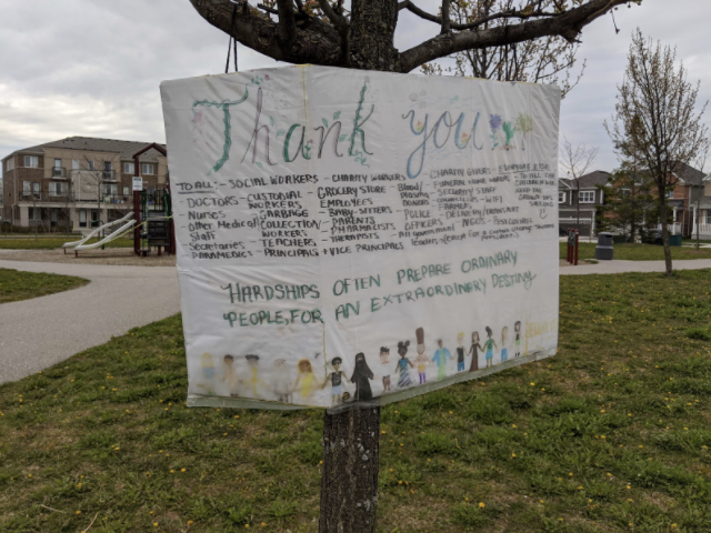 Thank you sign on tree