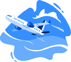 Illustration of airplane in sky