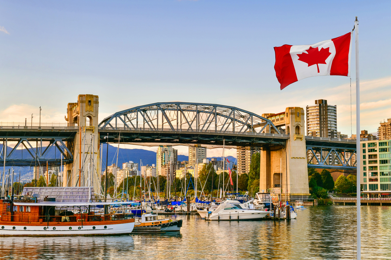 Canadian flag flying in Vancouver
