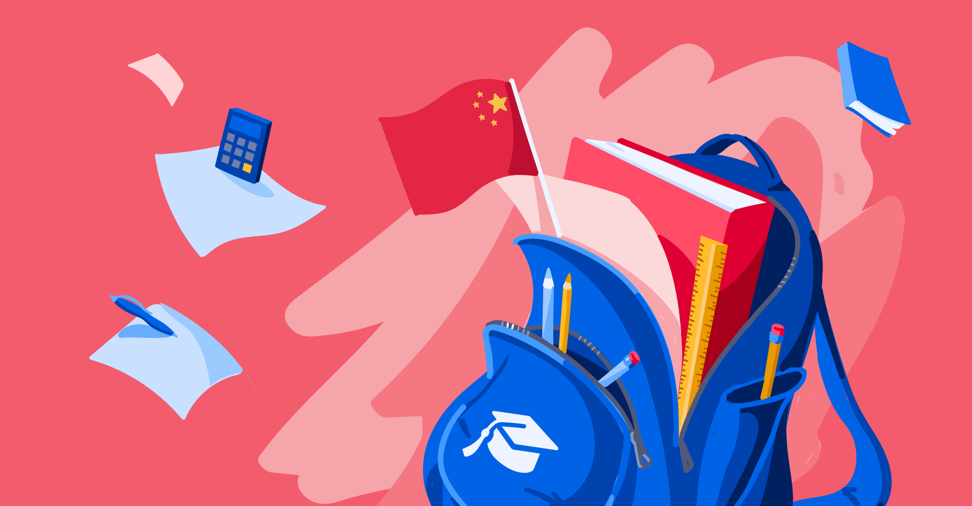 Illustration of backpack with Chinese flag