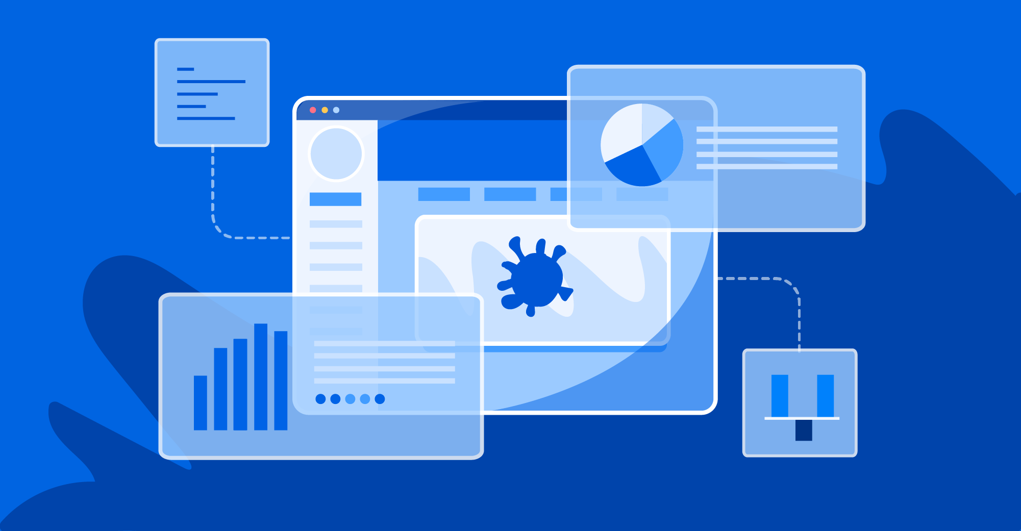 Illustration of application screens