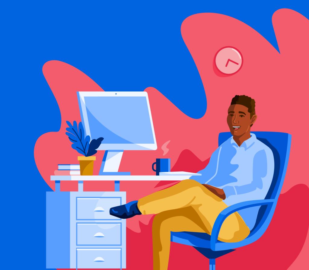 Illustration of student sitting at computer