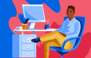 Illustration of man sitting at desk
