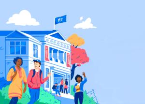 Illustration of students walking on campus