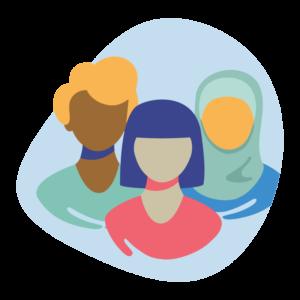 Illustration of female students