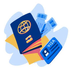 Passport with visa and airplane tickets