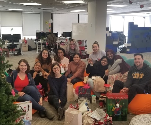 Kristine and team celebrates Christmas at the office
