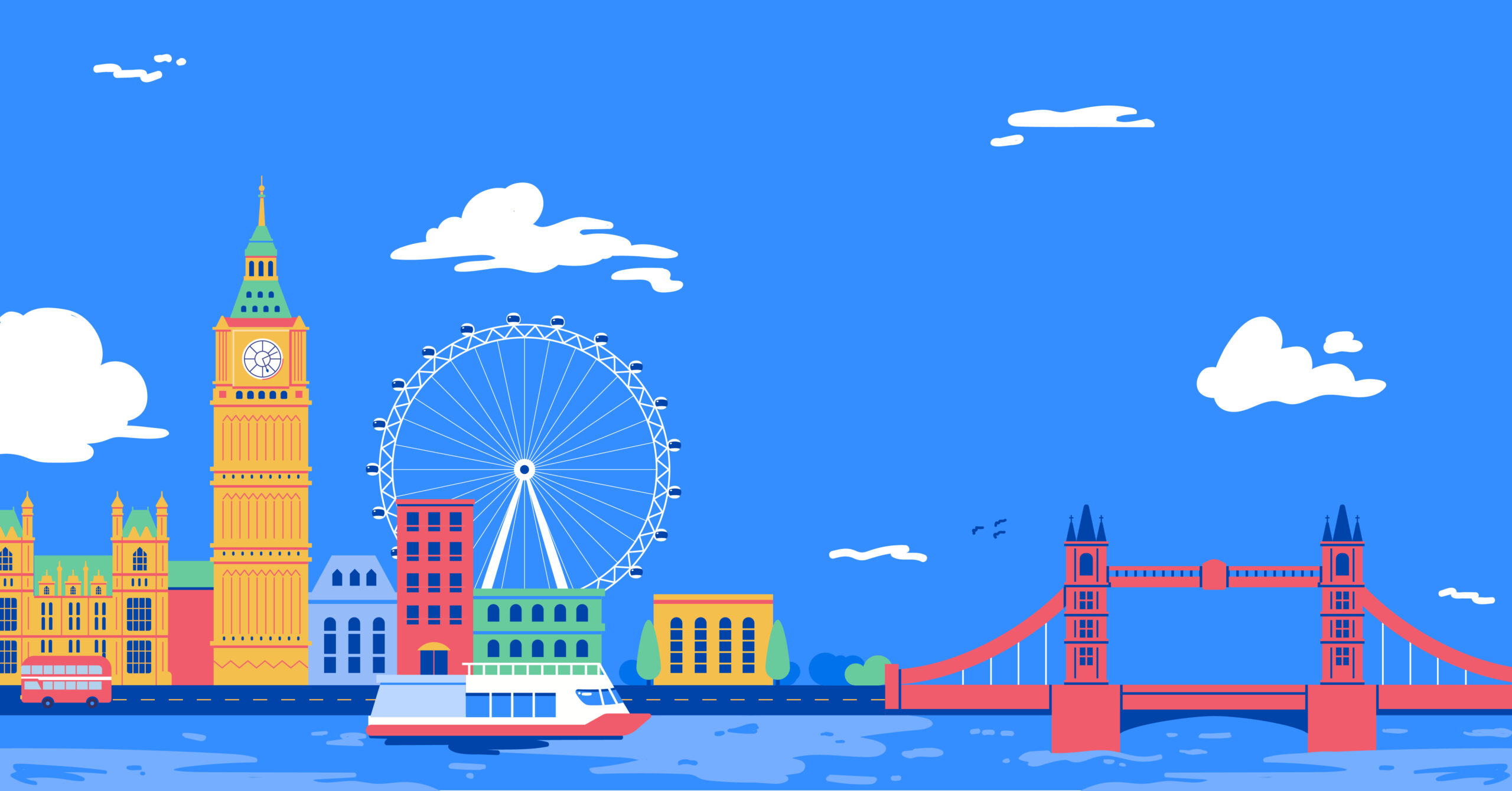 Illustration of iconic London sights